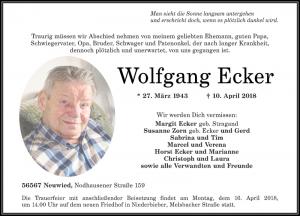 Traueranzeige Wolfgang Ecker