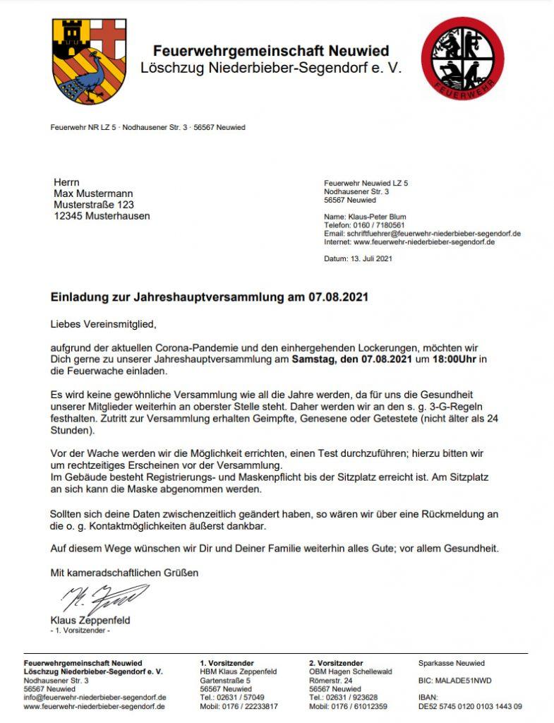 Jahreshauptversammlung 2021 Feuerwehr @ Feuerwache Segendorf